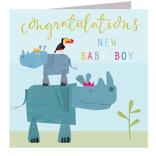 Baby boy rhinos card