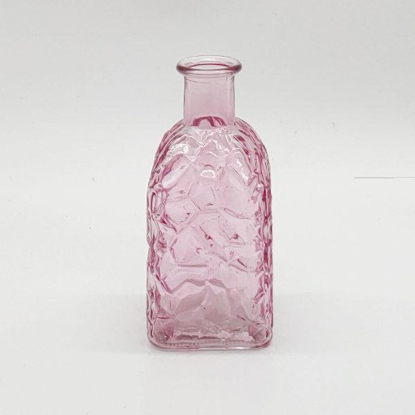 Light Pink Square Base Crackle Diffuser Bottle
