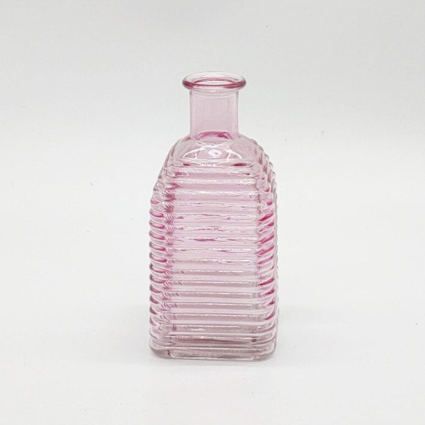 Light Pink Square Base Ribbed Diffuser Bottle
