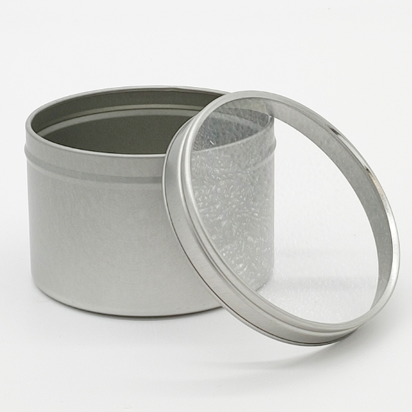 Large Seamless tin - Clear Lid