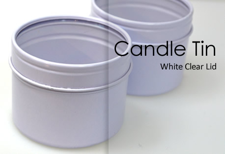 White Small Seamless Tin with clear lids